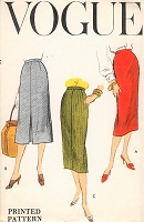 1950s CHIC Slim Skirts Pattern VOGUE 8965 Three Fab Styles Waist 26 Easy To Make Vintage Sewing Pattern