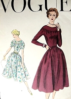 1950s LOVELY Day or After 5 Dress Pattern VOGUE 9003 Flattering Full Skirt Dress Bust 32 Vintage Sewing Pattern