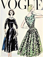 1950s GORGEOUS Evening Party Dress Pattern VOGUE 9043  Lovely Gathered Back Panel and Bodice Drapery Bust 34 Vintage Sewing Pattern