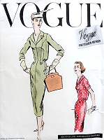 1950s Easy ELEGANCE Slim Dress Pattern VOGUE COUTURIER Design 906 V Neckline Shawl Collar Slim Day or After 5 Dress Bust 36 Vintage Sewing Pattern
