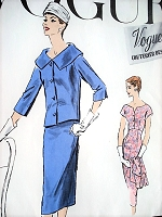 1950s LOVELY Slim Dress and Jacket Pattern VOGUE Couturier Design 909 Slim Empire Lines Perfect as Party Cocktail Dress Short Boxy Jacket Large Rolled Collar Bust 34 Vintage Sewing Pattern