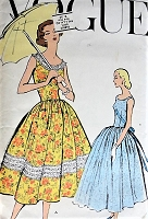 Vintage 1950s LOVELY Dress with Oval Neckline and Gathered Skirt Vogue 9154 Sewing Pattern Bust 36