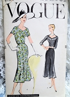 1950s BEAUTIFUL Day or After 5 Dress Pattern VOGUE 9158 Unique Neckline,Figure Flattering Style,Bust 40 Vintage Sewing Pattern