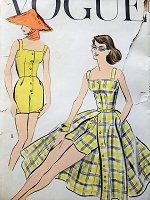 1950s LOVELY Beachwear Pattern VOGUE 9167 One Pc Playsuit and Full Front Button Skirt, Perfect Weekend Wear Bust 32 Vintage Sewing Pattern