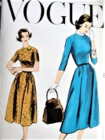 1950s CLASSY Dress Pattern VOGUE 9284 Figure Flattering Style Bust 40 Vintage Sewing Pattern FACTORY FOLDED