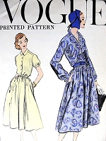 1950s CLASSY Shirt Waist Dress Pattern VOGUE 9302 Easy Dress Day or After 5  Bust 34 Vintage Sewing Pattern