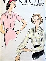 1950s CLASSY Blouse Pattern VOGUE 9306 Lovely Draped Shoulders Tuck In Blouse Bust 38 Vintage Sewing Pattern