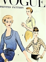 1950s STYLISH Blouse or Overblouse Pattern VOGUE 9317 Low Shaped Neckline With Bias Roll Collar Bust 40 Easy To Make Vintage Sewing Pattern