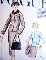 1950s Stylish 3 Pc Suit Pattern Vogue Couturier Design 932 Pencil Slim Skirt Short Box Jacket Beautiful Over Blouse Daytime or Cocktail Evening Bust 34 Vintage Sewing Pattern