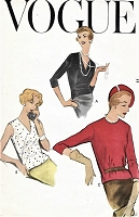 1950s OVERblouse Pattern VOGUE 9380 Easy Fitting Blouse Top 3 Versions Bust 34  Very Easy To Make Vintage Sewing Pattern