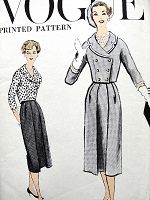 1950s CHIC Suit Pattern VOGUE 9385 CUTE Double Breasted Short Jacket, Slim Skirt Pleated In Front, Day or After 5 Fashion Bust 34 Vintage Sewing Pattern