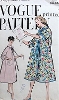 1950s COZY Vintage Robe with Pockets Vogue 9409 Bust 34-36 Sewing Pattern