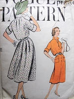 1950s Vintage CASUAL Shirt Waist Dress with Pockets Vogue 9434 Sewing Pattern Bust 36