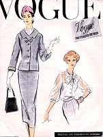 1950s CLASSY 3 pc Suit Pattern VOGUE COUTURIER Design 948 Sleek Slim Skirt Suit Beautiful Tied Scarf Collar Blouse Bust 34 Vintage Sewing Pattern
