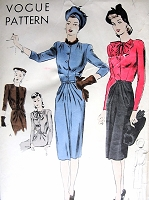 1940s FABULOUS Dress Pattern VOGUE Easy To Make Chameleon Like Slim Dress Bust 30 Vintage Sewing Pattern