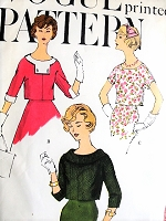 1950s BOXY Tops Over Blouses Pattern VOGUE 9531 Three Pretty Styles Easy Chic Bust 34 Vintage Sewing Pattern