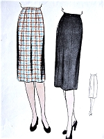 1940s SLEEK Slim Skirt Pattern VOGUE 9533 Waist 28 Easy To Make Vintage Sewing Pattern