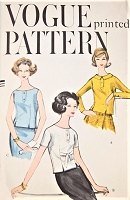 1950s CUTE Over Blouse Pattern VOGUE 9534 Three Pretty Styles Bust 34 Vintage Sewing Pattern