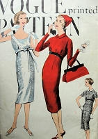 1950s Vintage POSH Slim Dress with Oval or High Neckline Detachable Collar Vogue 9561 Sewing Pattern Bust 31