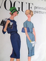 1950s CLASSY Slim Dress Pattern VOGUE 9584 2 Style Versions Bust 36 Vintage Sewing Pattern