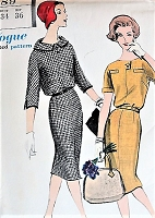 Vintage 1950s GRACEFUL Slim Dress with Pleated Back Vogue 9589 Sewing Pattern Bust 34