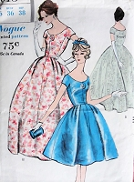 1950s BEAUTIFUL Evening Gown or Cocktail Party Dress and Petticoat Pattern VOGUE 9618 Easy Elegance Bust 36 Vintage Sewing Pattern
