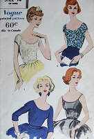 1950s Vintage LOVELY Blouses In Three Styles Vogue 9643 Sewing Pattern Bust 34 Vintage Fashion
