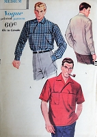 1950s Vintage STYLISH Men's Sport Shirt Vogue 9666 Sewing Pattern Chest 40