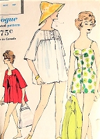 Late 50s LOVELY Bathing Suit and Beach Coat Pattern VOGUE 9737 Flattering Sweetheart Neckline Swimsuit With Attached Skirt Short Cute Beach Coverup Bust 36 Beachwear Vintage Sewing Pattern
