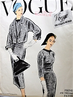 1950s ELEGANT 2 Pc Slim Dress and Jacket Pattern VOGUE Couturier Design 979 Unique Design Daytime or After 5 ,Bust 36 Vintage Sewing Pattern FACTORY FOLDED