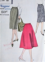 1950s CLASSIC Slim or Full Skirt Vogue 9814 Waist 30 Vintage Sewing Pattern