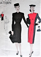 Vintage 1940s ELEGANT Belted Dress Short or Long Sleeves Vogue 9847 Sewing Pattern