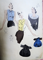 1940s CHIC Accessories Pattern VOGUE 9852 Dickies, Collar and Evening Bag Purse  Vintage Sewing Pattern