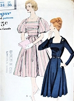 1950s PRETTY Day or Party Evening Dress Pattern VOGUE 9865 Square Neckline Long or Extra Puffy Sleeves Bust 34 Vintage Sewing Pattern FACTORY FOLDED