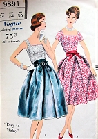 Late 50s BEAUTIFUL 2 Pc Evening Party Cocktail Dress and Sash Pattern  VOGUE 9891 Two Lovely Style Versions, Special Ocassion Dress Easy To Make Bust 34 Vintage Sewing Pattern