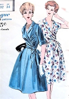 1960s LOVELY Two Pc Dress Easy To Make Pattern VOGUE 9941 Notched Collar Side WRAPPED Blouse and Flared Skirt, Day or Cocktail Dinner Party Bust 32 Vintage Sewing Pattern