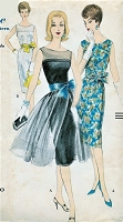 1960 GLAM Cocktail Party Dress and Detachable Sheer Overskirt Pattern VOGUE 9946 Two Beautiful Versions Bust 36 Vintage Sewing Pattern