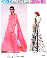 1970s STUNNING Jerry Silverman Evening Gown Pattern  Vogue American Designer 1404 Shoulder Flowing Cascade Panel Deep V Back Bust 32 Vintage Sewing Pattern