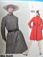 1960s FABULOUS Bill Blass Dress Pattern VOGUE AMERICANA 1875 Loose-fitting, A-line Dress,Back Inverted Pleat,Martingale Belt,Patch Pockets Bust 36 Vintage Sewing Pattern