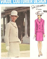 1960s JO MATTLI  Classy Suit Pattern VOGUE COUTURIER Design 1923 Slim Skirt Semi Fitted Jacket Size 10 Vintage Sewing Pattern