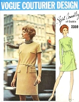 1970s FAB Sybil Connolly Dress Pattern VOGUE Couturier Design 2359 Classic Jewel Neckline Straight Dress Day or Evening Bust 34 Vintage Sewing Pattern