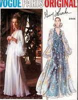 1970 GORGEOUS Guy Laroche Evening Gown Pattern VOGUE Paris Original 2444 Low Cut V Neckline High Waist Dress Full Sleeves Bust 38 Vintage Sewing Pattern FACTORY FOLDED
