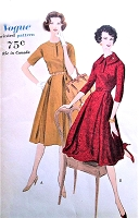 1950s CLASSY Day Dress Pattern VOGUE 9809 Two Versions Bust 36 Vintage Sewing Pattern