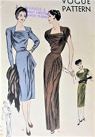 1940s STUNNING Evening Gown Cocktail Party Dress Pattern VOGUE 5562 Gorgeous Design Cascade Draped Overskirt Bust 38 Vintage Sewing Pattern