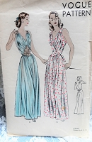 1940s GLAMOROUS NightGown Lingerie Pattern VOGUE 6162 Beautiful Figure Flattering Old Hollywood Design Bust 34 Vintage Sewing Pattern