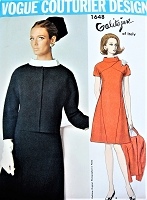 reserved 1960s GALITZINE Dress and Jacket Pattern VOGUE Couturier Design 1648 Lovely A Line Dress Seam Interest Bust 36 Vintage Sewing Pattern FACTORY FOLDED + Label