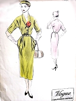 1950s STYLISH Slim Day or After Five Dress Pattern VOGUE COUTURIER Design 574 Easy Elegance Bust 34 Vintage Sewing Pattern