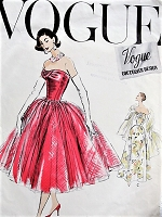 1950s BEAUTIFUL Evening Party Dress Gown Pattern VOGUE Couturier Design 919 STUNNING Strapless Draped Bodice Cocktail Dress Bust 32 Vintage Sewing Pattern