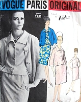 1960s PATOU 3 Pc Suit Pattern VOGUE Paris Original 1251 Casual Elegance Slim Skirt, Loose Fitting Jacket, Overblouse With Shaped Collar Bust 34 Vintage Sewing Pattern UNCUT +Label