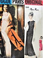 1960s GORGEOUS Nina Ricci Evening Gown and Stole Pattern VOGUE Paris Original 1341 Stunning Design B 34 Vintage Sewing Pattern